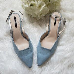 Zara Contrasting Slingback Kitten Heels